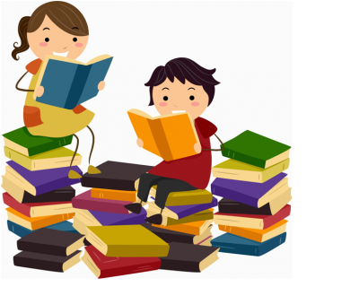 Animated photo of two children sitting on a pile of colourful books reading.