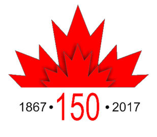 Graphic of the red maple leaf with 1867 on one side of 150 and 2017 on the other side of it.