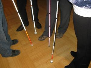 A photo of four people from the waste down holding four canes, three are white and one is pink.