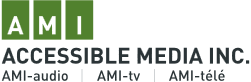 Graphic of logo for AMI - Accessible Media INC.
