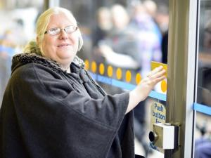 Photo of Amber-Joy Body at new accessible bus stop.