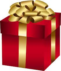 Image of a red Gift Box with gold ribbon and a big gold bow.
