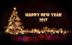 Graphic of black night sky with Happy New Year 2017 in lights and a Christmas tree with blured lights and more lights along the bottom creating a beautiful vision of past and future.