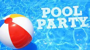 Graphic of blue sparkling pool water with a colourful beach ball and the words pool party on the water.