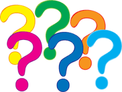 Graphic of yellow, green, orange, pink, dark blue and light blue question marks.
