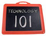 Graphic of Technology 101 sign on a chalkboard