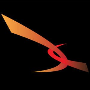 Graphic of the Firery coloured swooshes on VIRN's logo on a black background.
