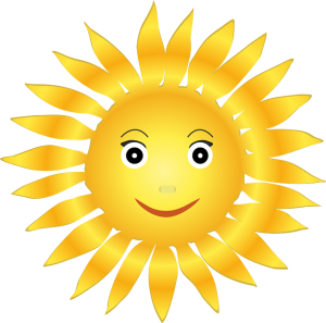 Graphic of Big yellow sun with a bright smiling face.